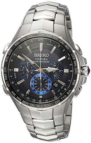 Seiko Men's COUTURA Stainless Steel Japanese-Quartz Watch with Stainless-Steel Strap, Silver, 26.3 (Model: SSG009)