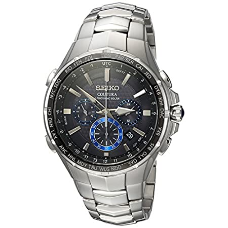 Fashion Shopping Seiko Men's COUTURA Japanese-Quartz Watch with Stainless-Steel Strap, Silver, 26.3 (Model: SSG009)