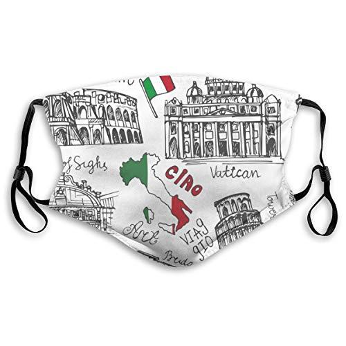 Waschbarer Mundschutz Anti-Staub-Gesichtsschutz,Italien Landmark Vintage Doodle Italienisches Kolosseum Vatikan Brücken von Venedig,Wiederverwendbar winddicht für Outdoor-Ski Radfahren Camping Laufen