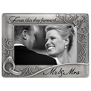 Malden International Designs Mr. & Mrs. Die Cast Metal Waves Frame, 4x6, Silver