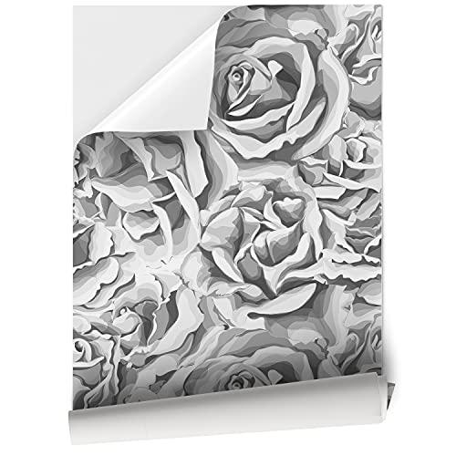 Papel Adhesivo de Vinilo para Muebles y Pared, 45 x 200 cm, Flores de Rosa, Impermeable y Removible, Gris, VNL-116