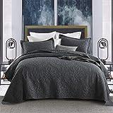 Topmail Set 3 Pezzi Copriletto Trapuntato Matrimoniale 230x250cm con 2 Federe 50x70cm, in 100% Cotone, Bed Cover Double Face Tinta Unita Grigio