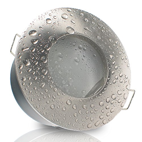 Decken Einbauleuchte NAUTIC IP65 rund Alu EDELSTAHL OPTIK gebürstet 12V 230V (ohne Leuchtmittel) Einbaustrahler für Bad, Dusche, Nassraum Feuchtraum Einbaustrahler innen außen LED Halogen