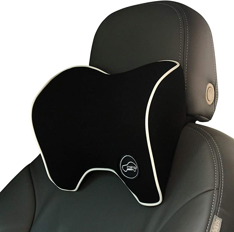 ICOMFYWAY Car Neck Support Pillow For Neck Pain Relief When Driving Headrest Pillow For Car Seat With Soft Memory Foam Black