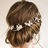 Barode Bridal Wedding Hair Vines Flower Sparkly Rhinestones Side Headpieces Crystals Bride Headband Gorgeous Leaves Hair Accessories for Women and Girls (Rose Gold)