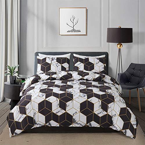 Yingke Bonhause - Juego de funda nórdica de microfibra (220 x 240 cm y 2 fundas de almohada de 65 x 65 cm), diseño de mármol geométrico, color blanco y negro