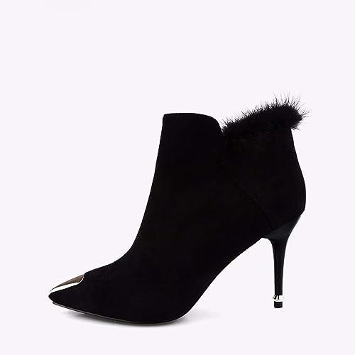 SFSYDDY Chaussures Populaires Tête Pointue avec des 9Cm Bottes Bottes Bottes Métal Bien Talon Martin Bottes Talons Hauts Nu des Bottes. 40b
