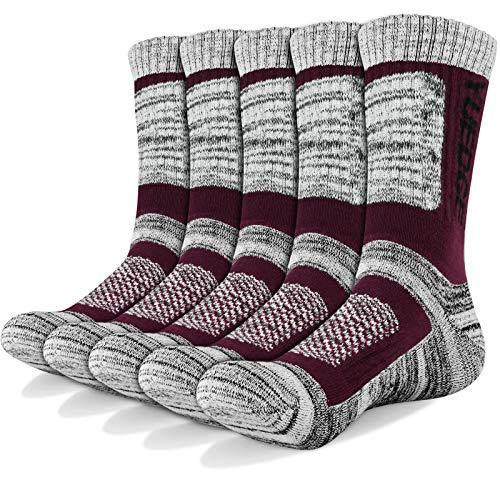 YUEDGE Wandersocken, 3/5 Paar atmungsaktive Laufsocken für Herren, Sport Socken mit Sohle & Knöchel, Anti-Blister Trainersocken Wine Red XL