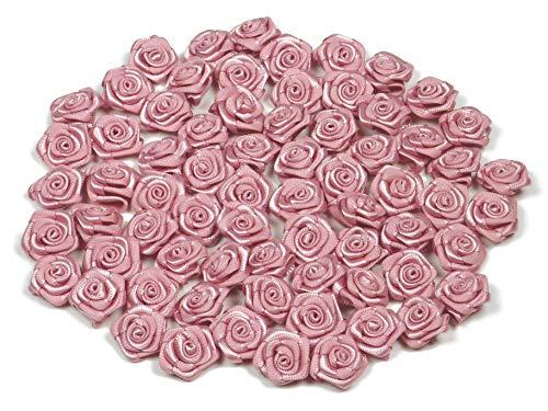 Rosen 15 mm x 20 Stück Satinrosen Aufnäher Deko Blumen Röschen zum Basteln Haarschmuck kleine Rosenköpfe Farbe: altrosa 158