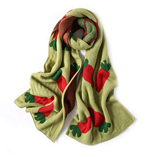 GERINLY Warm Thick Scarf For Winter Bright Carrot Pattern Wrap For Women Chilly Street Shawl