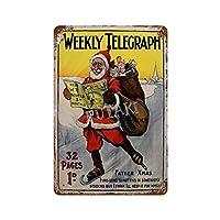 1904年のクリスマスウィークリーテレグラフさびた錫のサインヴィンテージアルミニウムプラークアートポスター装飾面白い鉄の絵の個性安全標識警告バースクールカフェガレージの寝室に適しています