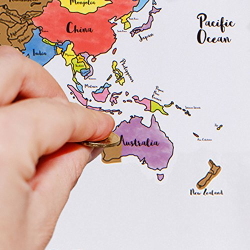 """Oversized Scratch Off World Map - Large 28""""x20"""" Watercolor Pastel Country Travel Tracker - Track Countries Visited - Europe, Asia, South America, USA Travelers Abroad Poster - Stocking Stuffer Gift"""