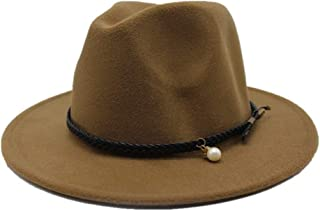 LiJuan Shen Men Women Wool Fedora Hat Wide Brim Hat Church Jazz Hat Travel Autumn Fascinator Trilby Hat Size 56-58CM