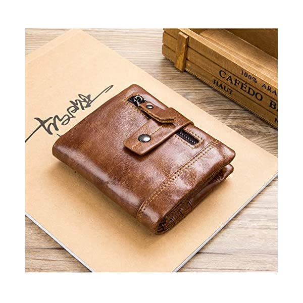BULLCAPTAIN Men's Wallet Leather Front Pocket Bifold Wallets with Zipper Coin Pocket/Pouch QB-4 2