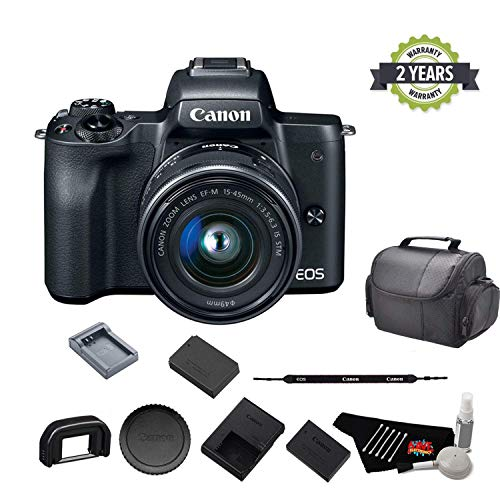Canon EOS M50 Mirrorless Digital Camera with 15-45mm Lens and 4K Video 2680C011 Bundle with Spare Battery and Travel Charger- International Model w/ 2 Year Seller Warranty