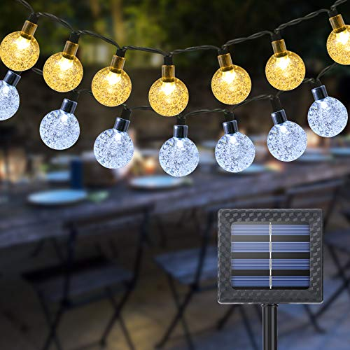 Solar Garden Lights Outdoor, Qedertek 60 LED 36ft 2 in 1 Solar String Lights, Waterproof 11 Modes Crystal Ball Fairy String Lights for Garden, Lawn, Party, Patio, Yard, Home,Gazebo(Warm White & White)