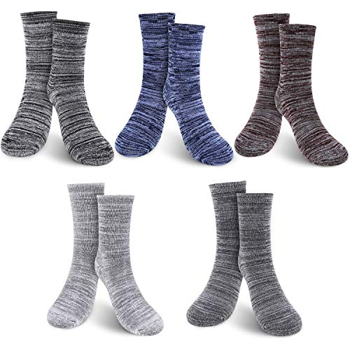 WOSTOO Herren Socken Wintersocken, Herrensocken Winter Wollesocken 5 Pack Dicke Baumwolle Stricksocke Bunte Dickere Baumwollsocken Einheitsgröße Atmungsaktiv Weich Socken