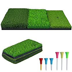 ★【3-in-1 Golf Hitting Mat】:Multi-functional hitting mat composed of three different lengths of high-quality turf, used for golfing, chipping and putting practice. Durable mat provide a realistic experience and help you quickly improve your skills, id...