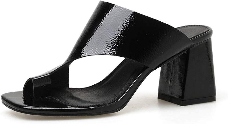 MEIZOKEN Women's Comfort Toe Ring Chunky Heeled Slippers Retro Cutout Anti-Slip Mules Pump Slide Sandals
