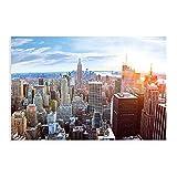 Póster mural de la ciudad de Nueva York con decoración de ático, puesta del sol de Manhattan América USA decoración de la pared, póster de Nueva York, 40 x 60 cm