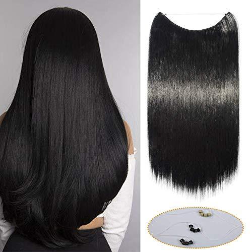 20 Pouces Extension Cheveux Fil Invisible Synthetique - Noir Foncé - Extension A Fil Rajout Cheveux Lisse Raide Wire In Hair Extension