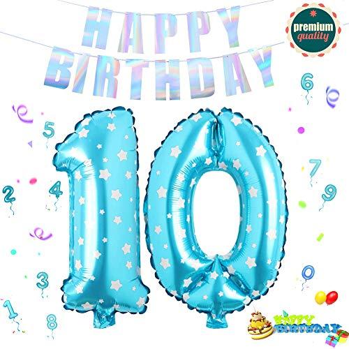 Sunshine smile Folienballon Zahl in Blaue Sterne,Luftballon Zahlen,Riesige Folienballon,Zahl Geburtstagsdeko,Geburtstag Dekoration bunt,Party Supplies Folienballon im Zahlen-Design (10)