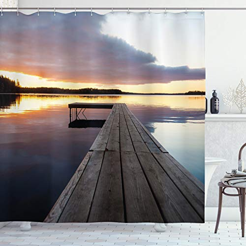 """Ambesonne Landscape Shower Curtain, Serenity Relaxing Themed Port Pier Wooden Rustic Image of Dawn Sunset in Lake Art, Cloth Fabric Bathroom Decor Set with Hooks, 70"""" Long, Foggy Gray"""