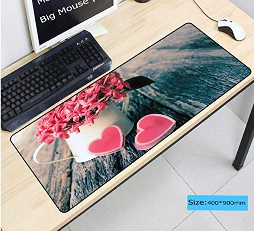 Vaas Bloemen Roze Harten Liefde Grote Muis Pad Xl Speed Gamer Gaming Mousepad Laptop Notebook Mat Non-Fading Pad Grote Grootte 900 * 400 * 3 Mm