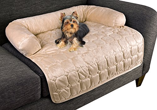 "Furniture Protector Pet Cover for Dogs and Cats with Shredded Memory Foam filled 3-Sided Bolster Soft Plush Fabric by PETMAKER – 30"" x 30.5"" Beige"