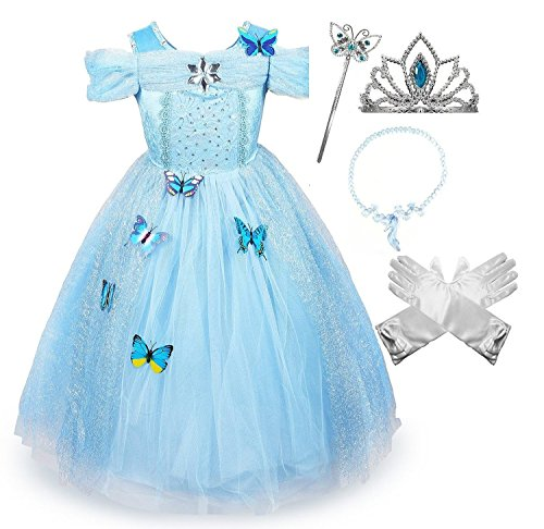 Cinderella Crystal Princess Party Costume Dress with Accessories (3-4)