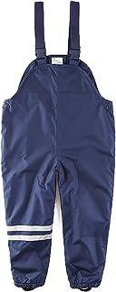 umkaumka Boys and Girls Suspender Rain Pants Fleece Lined Bib - Muddy Play Overalls 18 Months - 7 Years