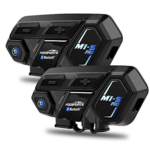 Motorcycle Bluetooth Intercom, Fodsports M1S Pro 2000m 8 Riders Group Motorbike Helmet Communication System Headset Universal Wireless Interphone (Waterproof/Handsfree/Stereo Music/GPS/2 Pack)