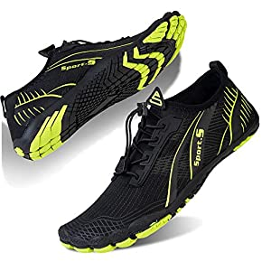 Water Shoes for Men and Women Barefoot Quick-Dry Aqua Sock Outdoor Athletic Sport Shoes for Kayaking, Boating, Hiking, Surfing, Walking (M-Green, 46)