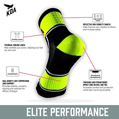 KOA® ELITE Performance High visibility Cycling and Running Socks 3 PACK, Light compression arch support for Men and Women ¦ All season, Seat wicking, Quick Dry sports sock. [YELLOW] [FEARLESS]