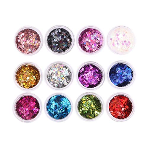 Generic 12 Colors Glitter Nails Stickers Glitter Nail Sequins Nail Art Nail Glitter Stickers Manicure Diy Decor for Face, Hair, Body, Eyes - Star