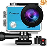 Crosstour Action Cam 4K WiFi 16MP Camera Ultra HD 30M Unterwasserkamera 2' LCD mit 2...