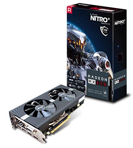 Sapphire, scheda grafica 11266-14-20G Radeon Nitro + RX 570 4GB GDDR5 dual HDMI/DVI-D/DUAL DP con piastra posteriore (UEFI) PCI-E