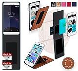 reboon Hülle für Coolpad Porto S Tasche Cover Case Bumper | Braun Leder | Testsieger