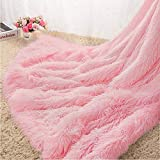 Homore Soft Fluffy Blanket Fuzzy Sherpa Plush Cozy Faux Fur Throw Blankets for Bed Couch Sofa Chair Decorative, 50''x60'' Pink