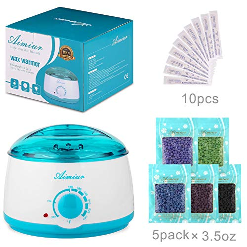 Wax Warmer, Wax Hair Removal Kit + 5 Flavors Hard Wax Beans + 10 Wax Applicator Sticks (wax warmer+5 bags wax beans)