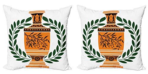 ABAKUHAUS Retro Set de 2 Fundas para Cojín, France, Paris Laurel, con Estampado en Ambos Lados con Cremallera, 60 cm x 60 cm, Hunter Verde Naranja