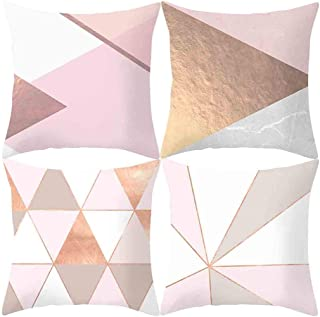 doublesmt Throw Pillow Covers 4 Pack Classical Geometric Wave Cushion Pillowcases Decorative Pillowcases for Home Couch Sofa Bed Car (18x 18) (4 Pack Geometric Gold and Pink)