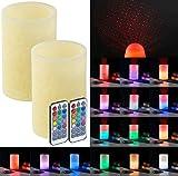 Lunartec LED Kerze mit Projektion: 2 Echtwachskerzen mit Farbwechsel-LED &