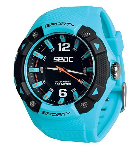 SEAC Sporty, Orologio Lifestyle all'Acqua 100 mt, Resistente Cinturino in Gomma Unisex Adulto, Azzurro, Standard