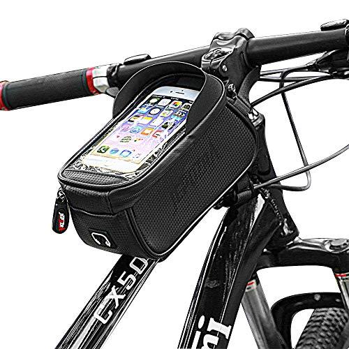 JEPOZRA Borsa per Telaio da Bicicletta, Impermeabile e Parasole per Bicicletta, Borsa con Telaio per Bicicletta con Supporto per Cellulare, Supporto per Telefono Cellulare con Finestra Touch Screen