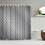 HYJDZKJY Polyester Fabric Shower Curtain,Fence Netting Display with Diamond Plate Effects Chrome Motif,with 12 Plastic Hooks Decorative Bath Curtains 72x72 inches