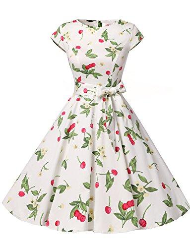 Dressystar Damen Vintage 50er Cap Sleeves Dot Einfarbig Rockabilly Swing Kleider Kleine Weiße Kirsche A L