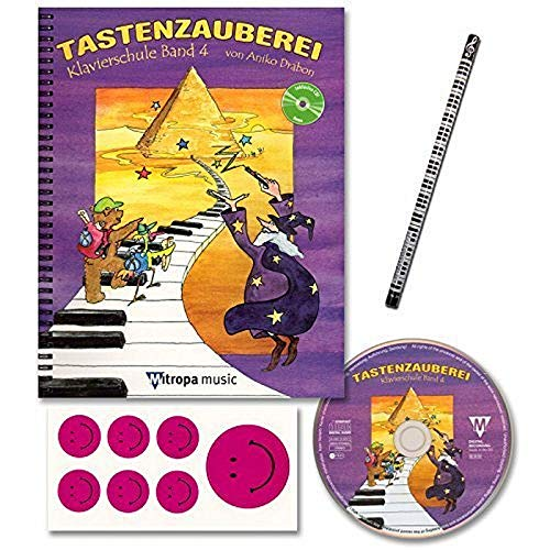 TASTENZAUBEREI - mit CD + Piano-Bleistift + 7 lustige Smiley-Sticker - Klavierschule Band 4 von Aniko Drabon - der zauberhafter Einstieg ins Klavierspiel! [Spiralbuchbindung / Musiknoten]