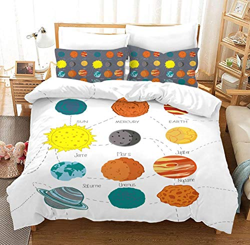 GuoDamei Duvet Covers Double Bed Size 200x200 cm Bedding Set 3 Pc 100% Microfiber with Hidden Zipper Closure + 2 Pillow covers 50x75 cm Easy Care And Super Soft Design,Planet pattern