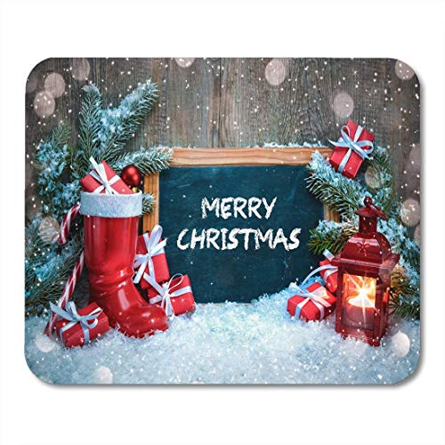 Mousepad,Xmas Vintage Weihnachtslaterne Red Santa Boot Und Candle Functional Anti-Slip Gaming Mousepads,18x22cm